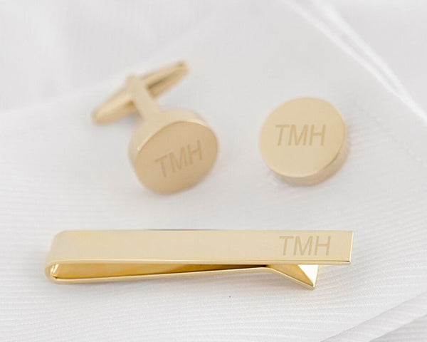 Personalized Round Cuff Link and Tie Clip Set (Multiple Colors Available)