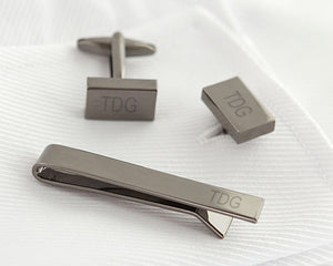 Load image into Gallery viewer, Personalized Gunmetal Cuff Link and Tie Clip Set