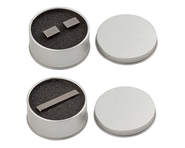 Personalized Gunmetal Cuff Link and Tie Clip Set
