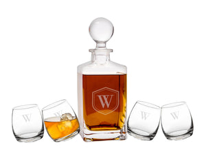 Personalized Tipsy Whiskey Decanter Set - Groom Gift