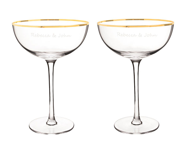 Personalized Gold Coupe Flutes & Serving Set