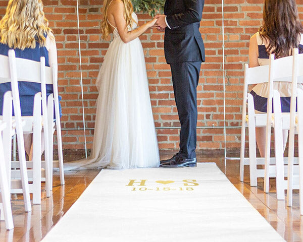 Personalized Aisle Runner with Gold Foil