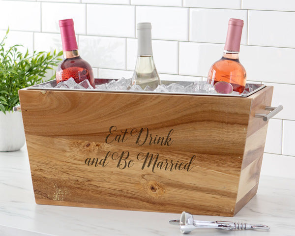 Personalized Wedding Acacia Beverage Chest