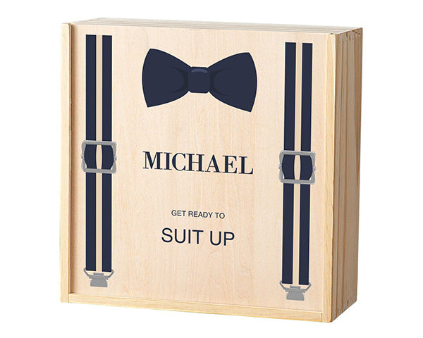Personalized Groomsman Wooden Gift Box - Bow Tie & Suspenders