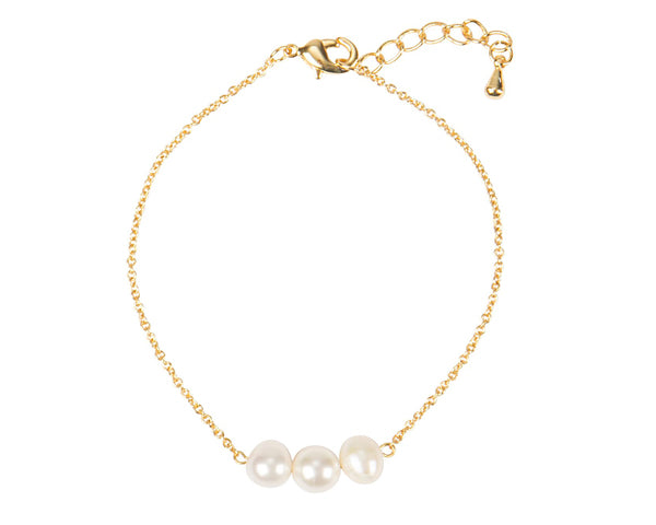 Personalized Three Pearl Bracelet (Available in Gold & Silver)