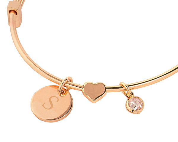 Personalized Bracelet with Sliding Heart Pendant