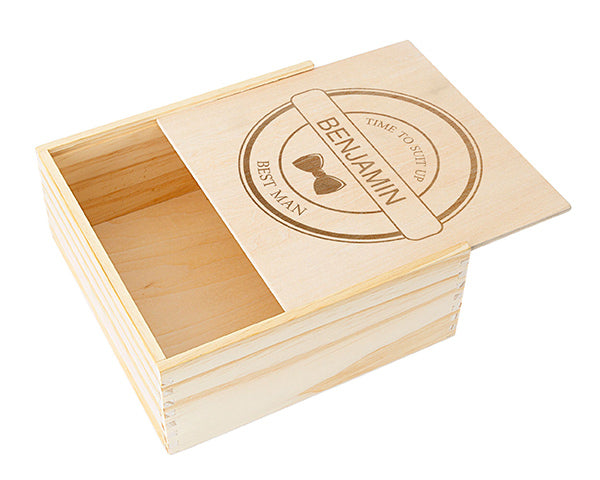 Personalized Best Man Wooden Gift Box - Bow Tie