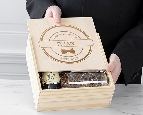 Personalized Best Man Wooden Gift Box Set - Bow Tie