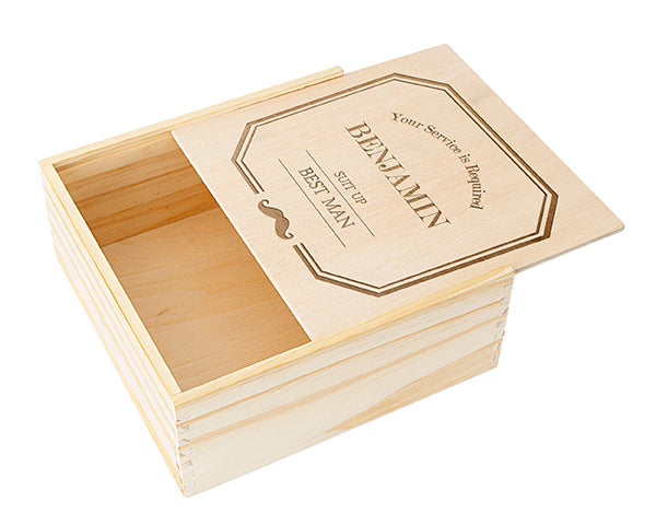 Personalized Best Man Wooden Gift Box - Mustache