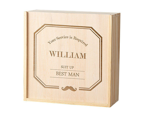 Personalized Best Man Wooden Gift Box Set - Mustache