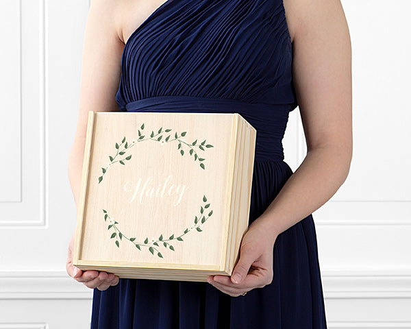 Personalized Bridesmaid Wooden Gift Box Set - Floral Wreath