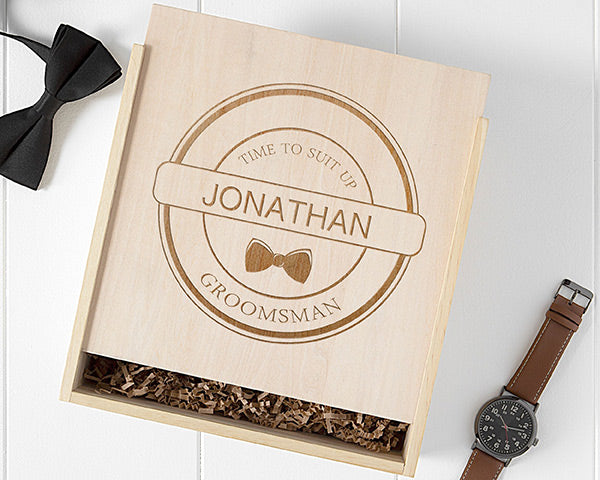 Personalized Groomsman Wooden Gift Box - Bow Tie