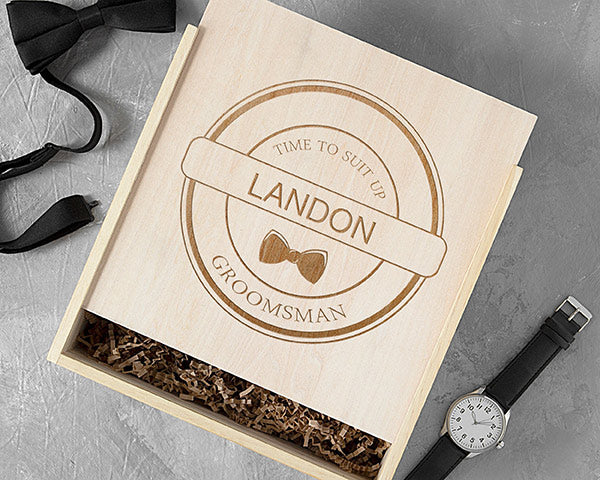 Load image into Gallery viewer, Personalized Groomsman Wooden Gift Box - Bow Tie