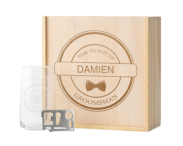 Personalized Groomsman Wooden Gift Box Set - Bow Tie