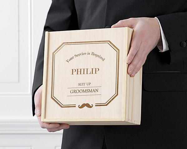 Personalized Groomsmen Wooden Gift Box Set - Mustache