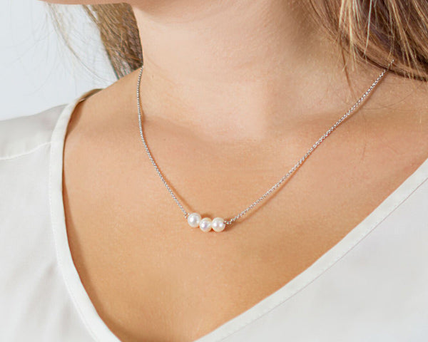 Personalized Silver Three Pearl Necklace