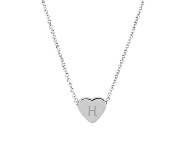 Personalized Heart Slide Pendant Necklace - Silver