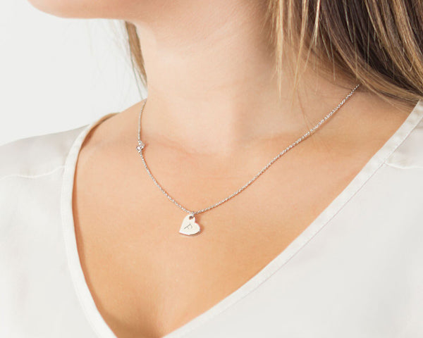 Personalized Heart Necklace with Bezel Crystal (Available in Gold & Silver)