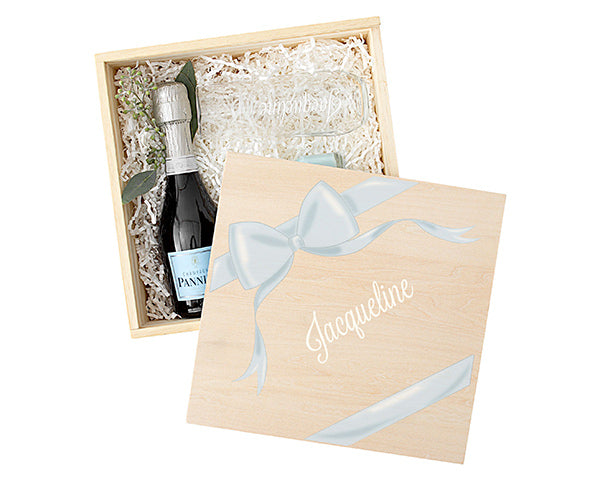 Personalized Bridesmaid Wooden Gift Box Set - Ribbon