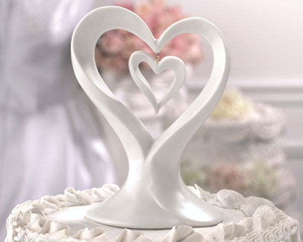 Unity Double Heart Porcelain Cake Topper