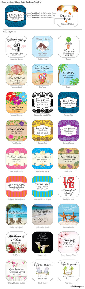 Personalized Chocolate Graham Cracker Favors (Many Designs Available)