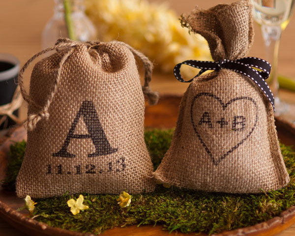 Load image into Gallery viewer, Personalized Rustic Favor Bags (Set of 12)