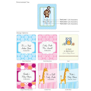 Personalized Exclusive Baby Tea Favor (Many Designs Available)