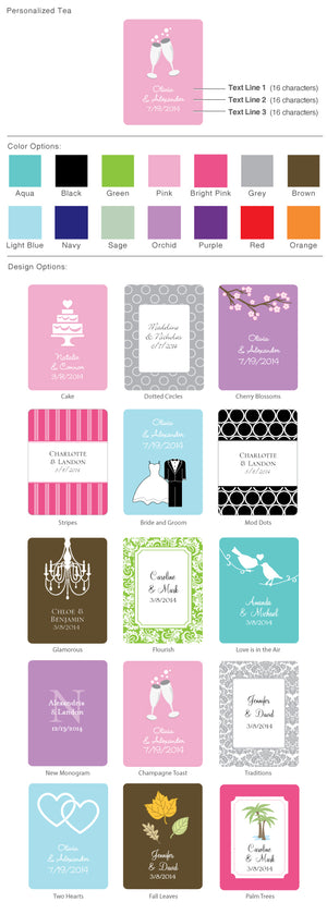 Personalized Wedding Tea Packs (Many Designs Available)