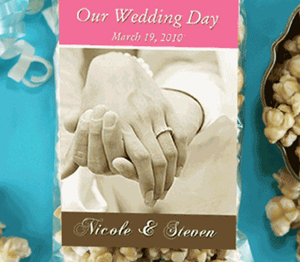 Personalized Elegant Themed Caramel Popcorn Wedding Favors