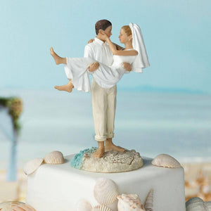 Just Married Beach Couple Cake Topper