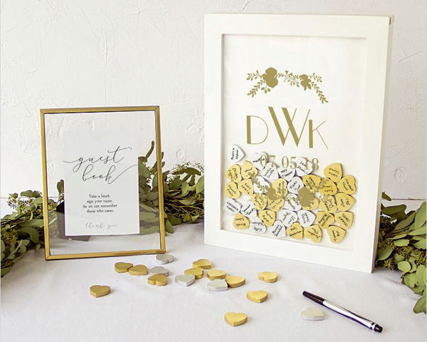 Personalized Wedding Guestbook Heart Drop Box (Gold or Silver)