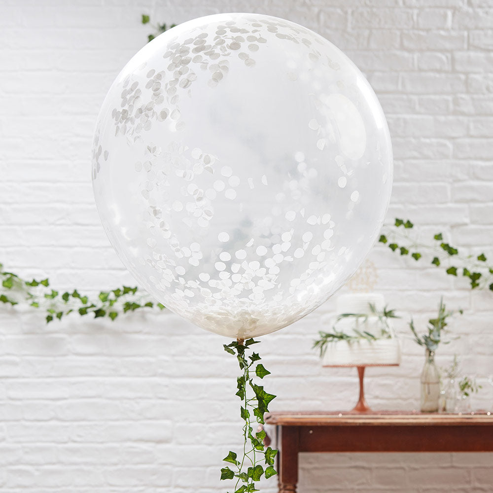 "Beautiful Botanics White 36"" Confetti Balloons (Set of 3)"