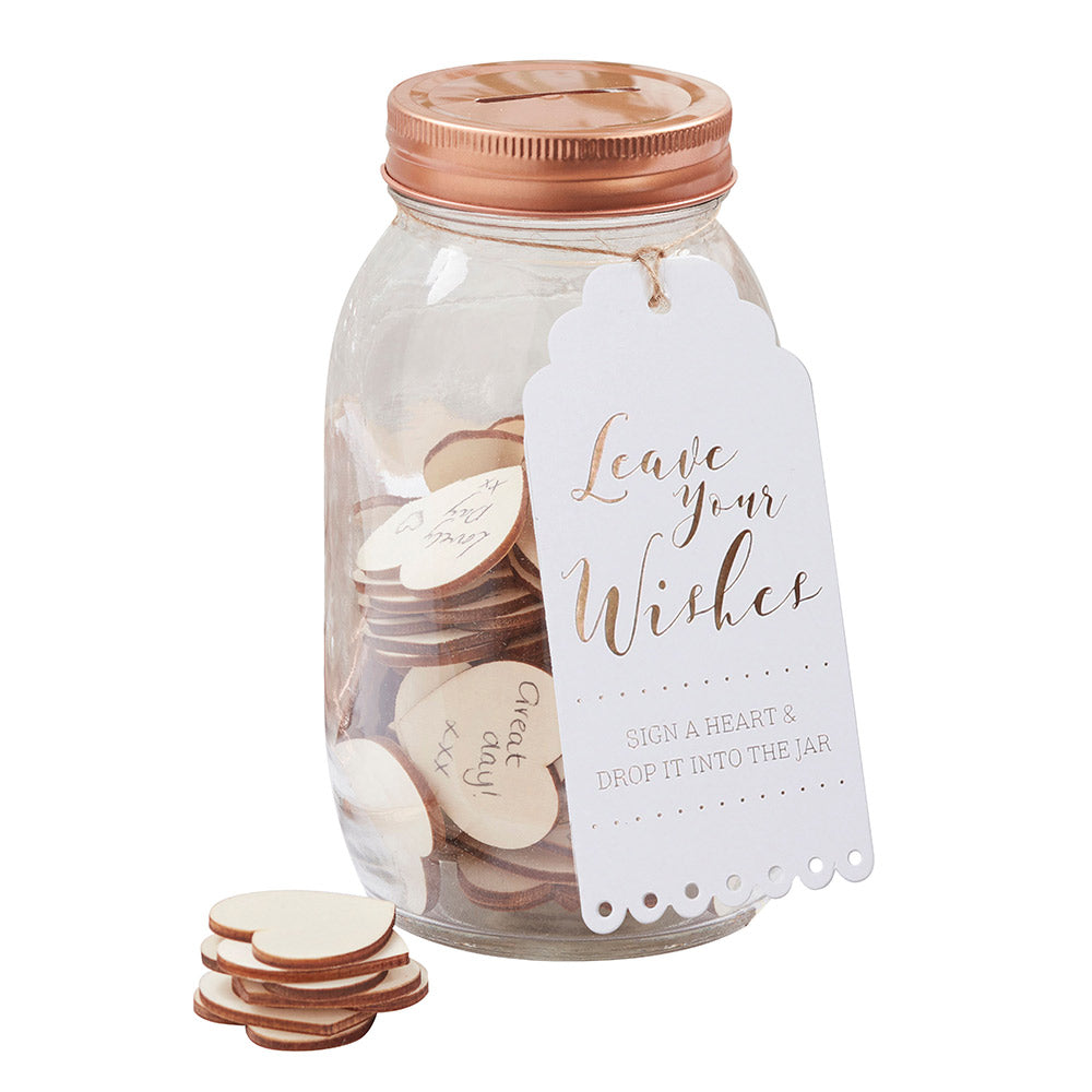 Beautiful Botanics Wishing Jar & Hearts Guest Book