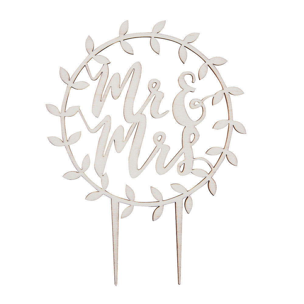 Beautiful Botanics Wooden Mr. & Mrs. Cake Topper