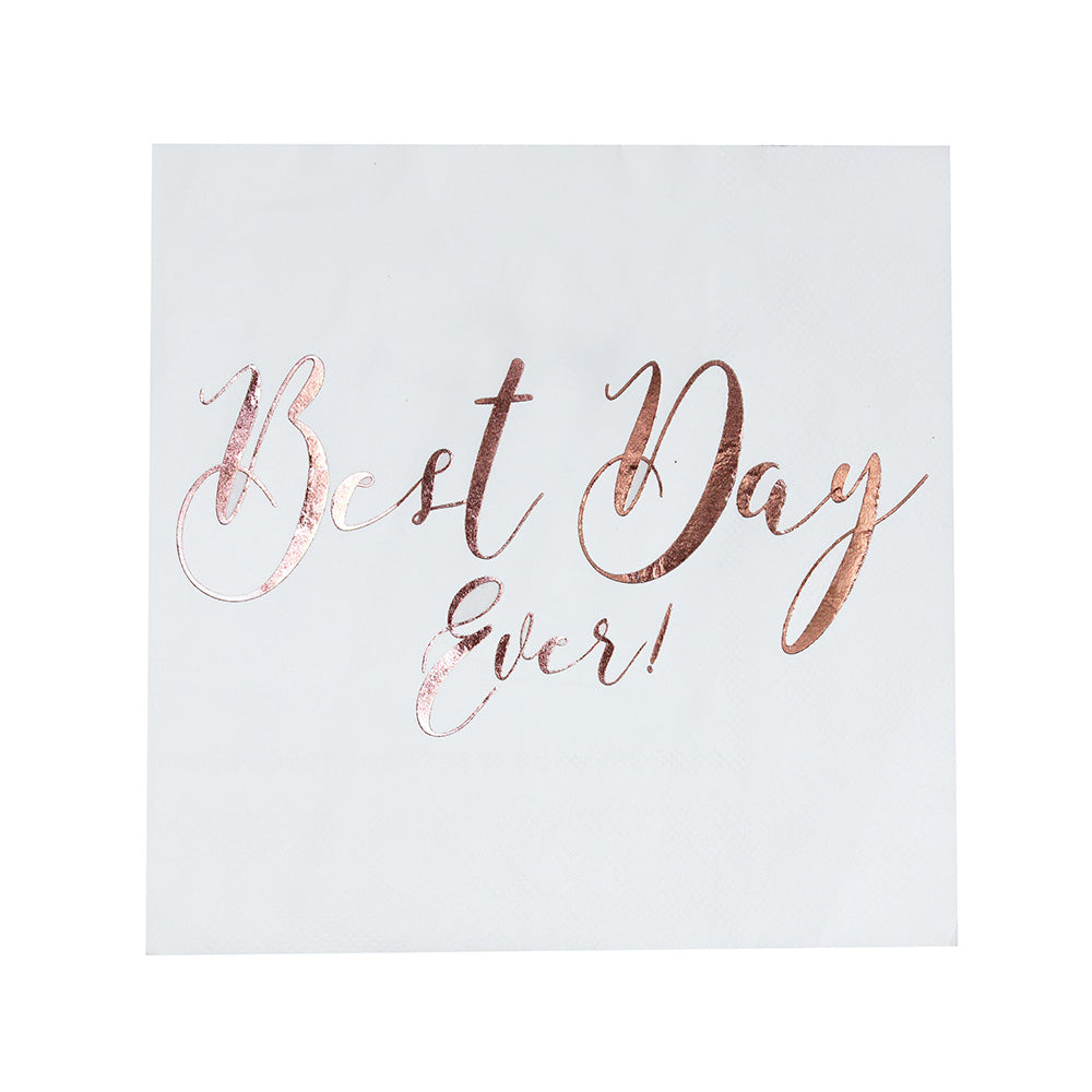 Load image into Gallery viewer, Beautiful Botanics Rose Gold Best Day Ever Napkins (Set of 20)