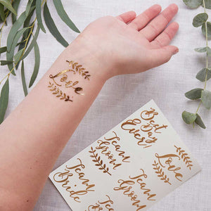 Beautiful Botanics Rose Gold Temporary Wedding Tattoos (Set of 12)