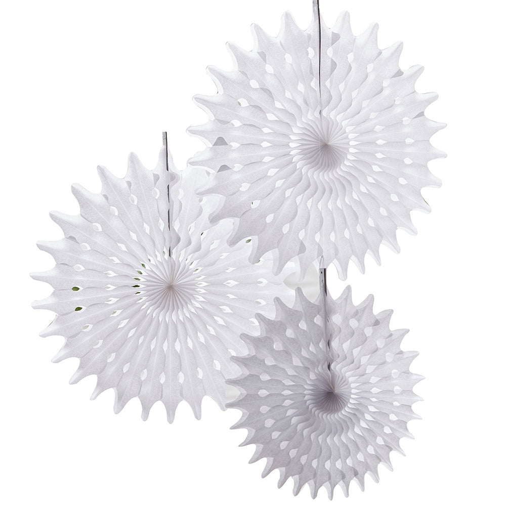 Load image into Gallery viewer, Beautiful Botanics White Tissue Hanging Fan (Set of 3)