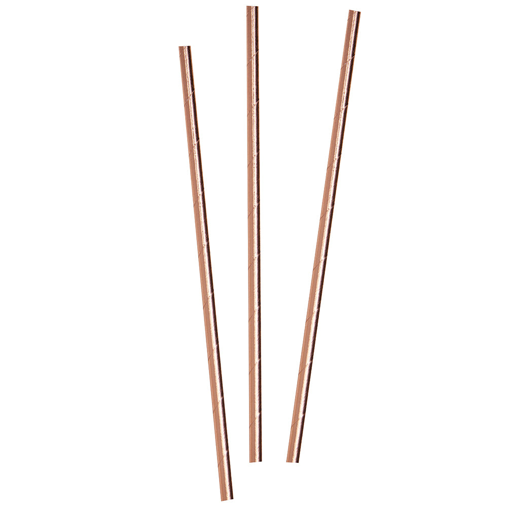 Load image into Gallery viewer, Beautiful Botanics Rose Gold Paper Straws (Set of 25)