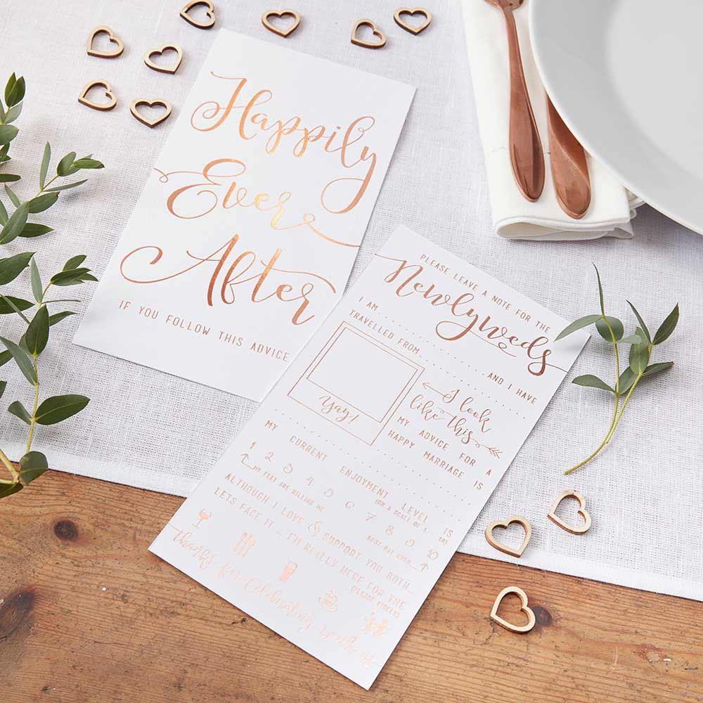 Load image into Gallery viewer, Beautiful Botanics Rose Gold Happily Ever After Advice Cards (Set of 10)