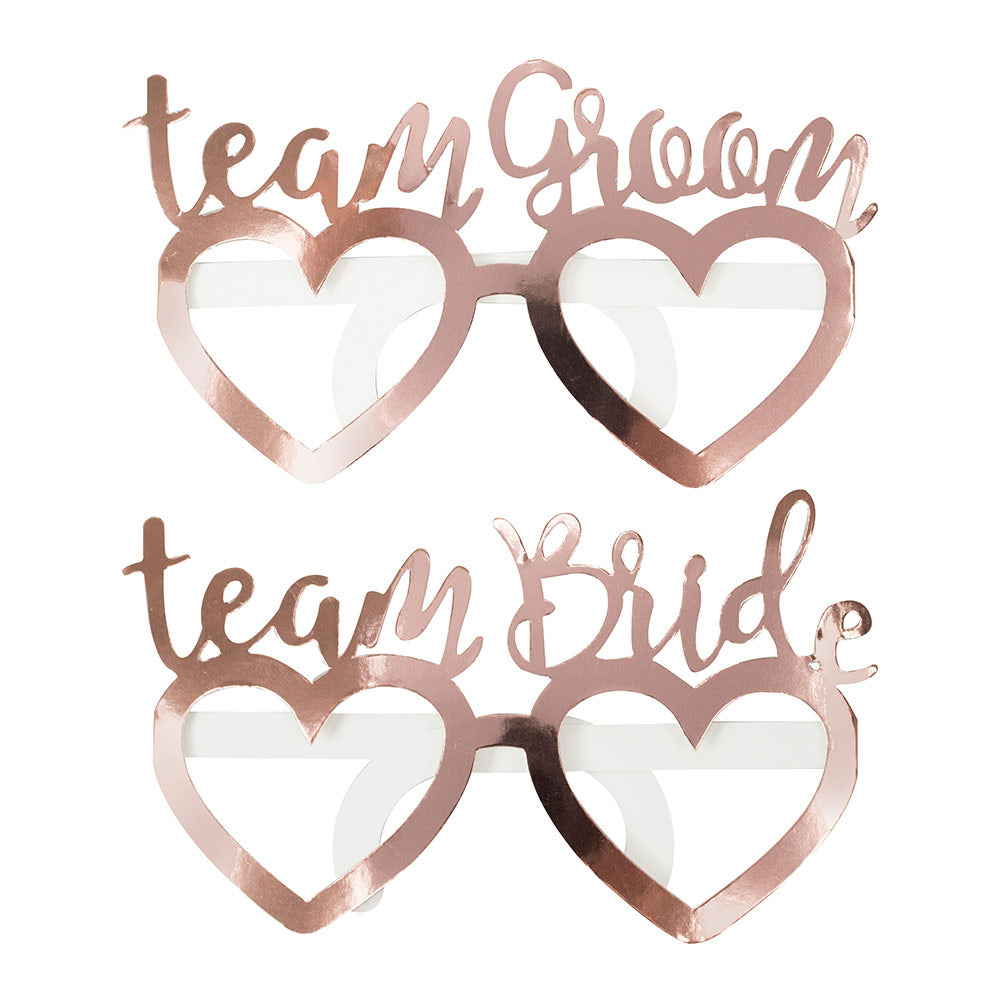 Beautiful Botanics Rose Gold Foil Team Bride Team Groom Glasses (Set of 8)