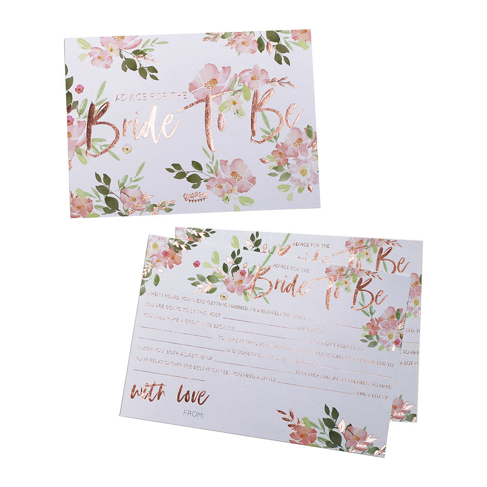 Bride To Be Rose Gold Advice Cards My Wedding Favors