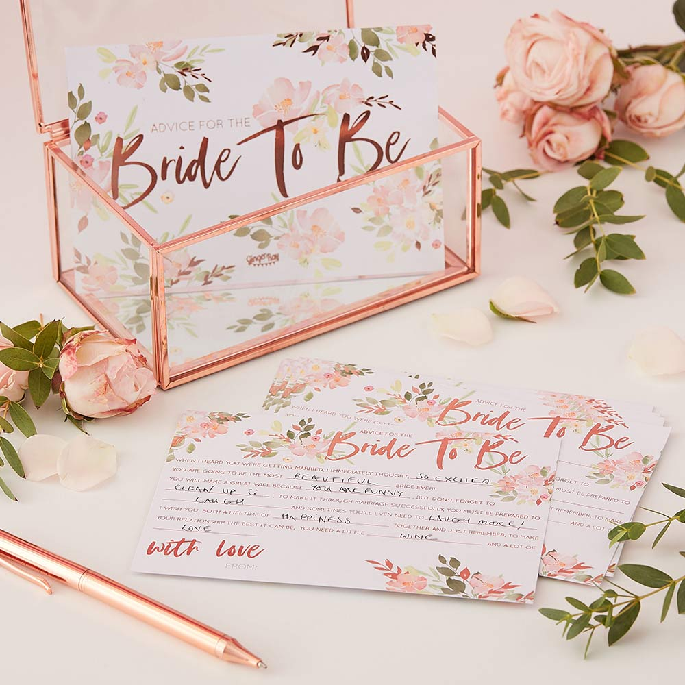 Bride To Be Rose Gold Advice Cards