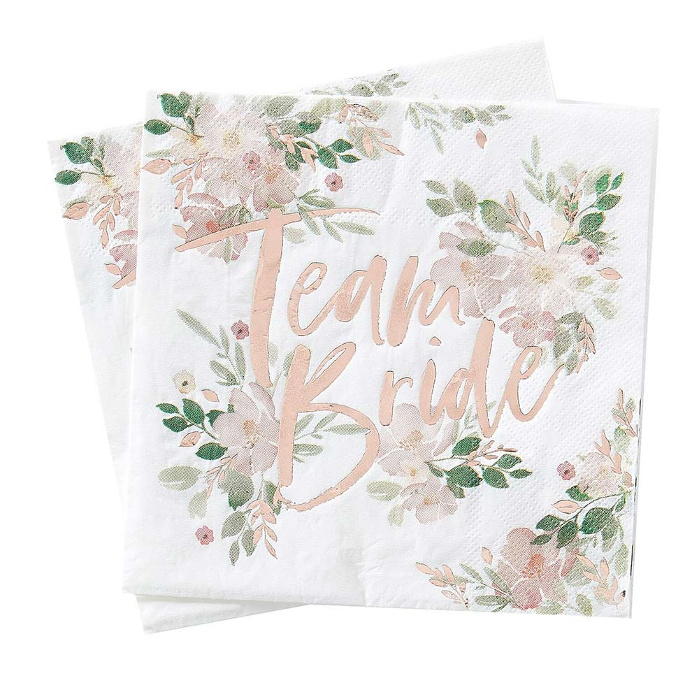 Load image into Gallery viewer, Team Bride Rose Gold Napkin (Set of 16)