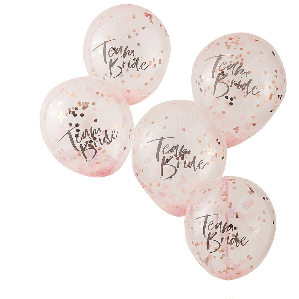 "Team Bride Rose Gold 12"" Confetti Balloons (Set of 5)"