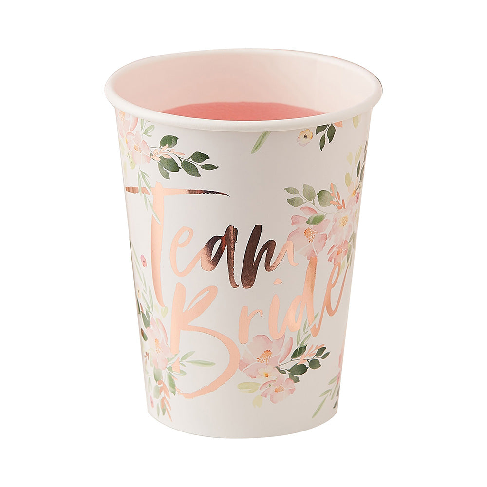 Team Bride Rose Gold 9 oz. Paper Cups (Set of 8)