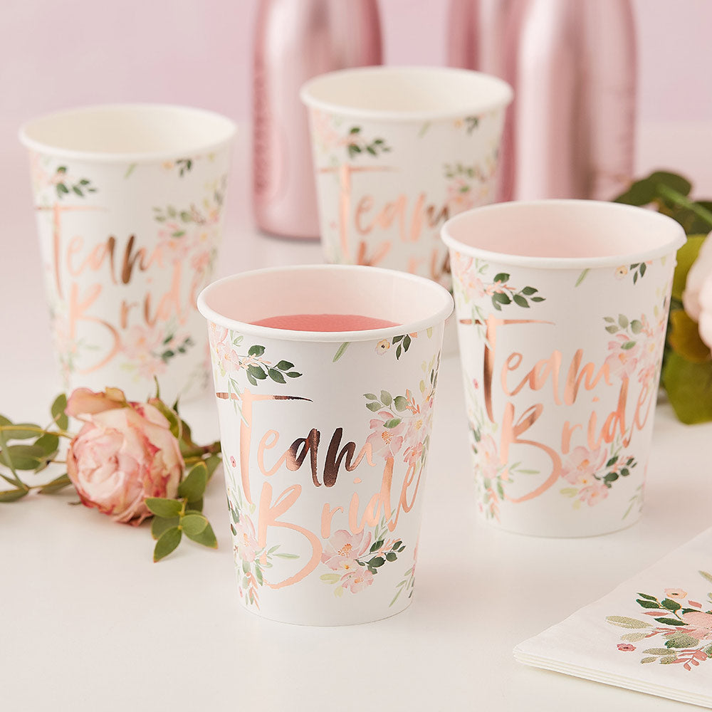 Load image into Gallery viewer, Team Bride Rose Gold 9 oz. Paper Cups (Set of 8)