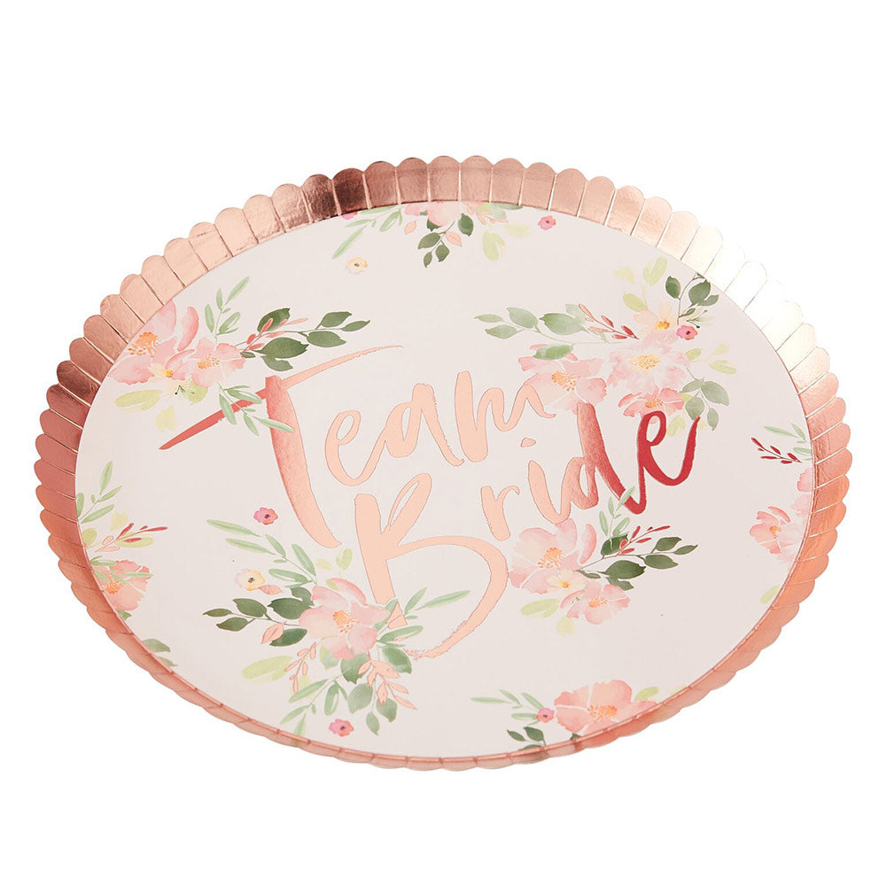 Load image into Gallery viewer, Team Bride Rose Gold 9 in. Paper Plates (Set of 8)