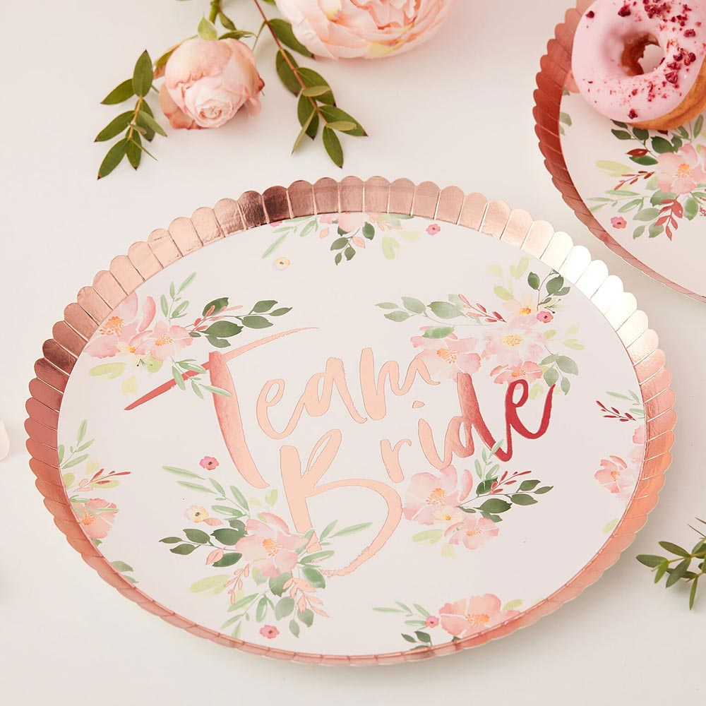 Team Bride Rose Gold 9 in. Paper Plates (Set of 8)