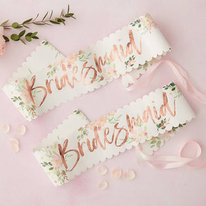 Load image into Gallery viewer, Bridesmaid Rose Gold Paper Sash (Set of 2)
