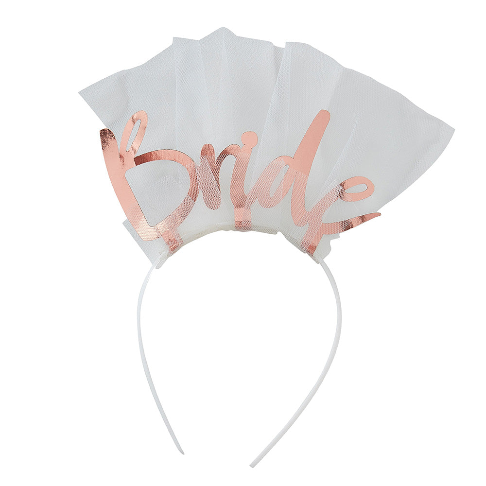 Bride Rose Gold Headband Veil